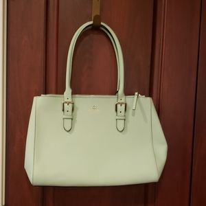 Mint green leather kate spade tote